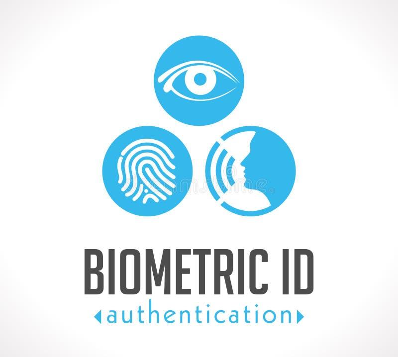 Логотип - биометрическое удостоверение подлинности ID иллюстрация штока