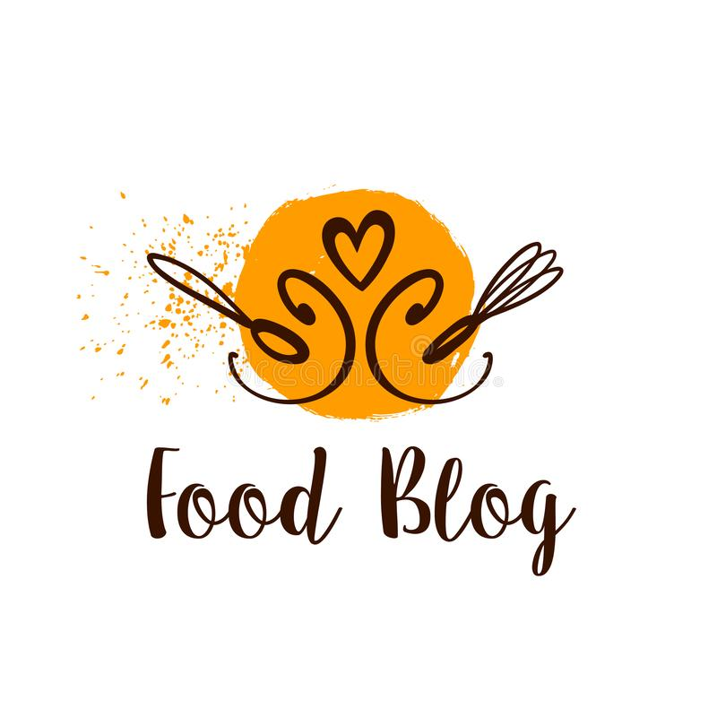 Логотип блога еды с ложкой и сердце изолированное на белой предпосылке бесплатная иллюстрация