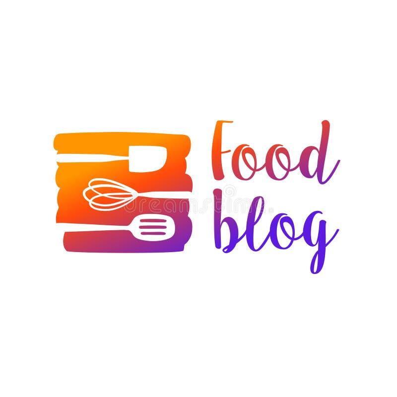 Логотип блога еды с kitchenware изолированным на белой предпосылке de иллюстрация штока