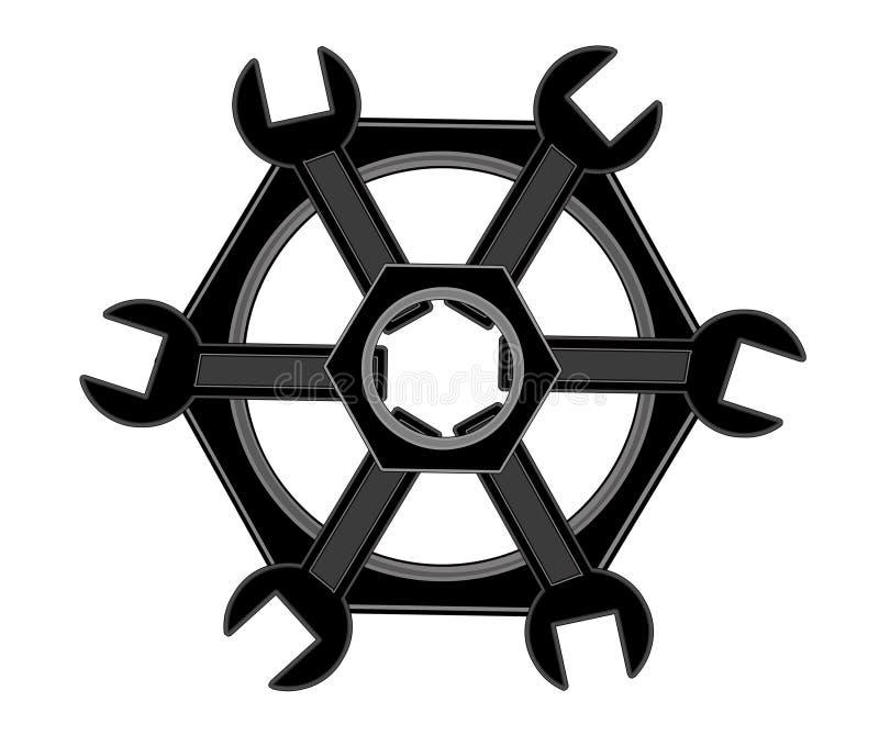 Логотип болтов и ключей стоковые изображения rf
