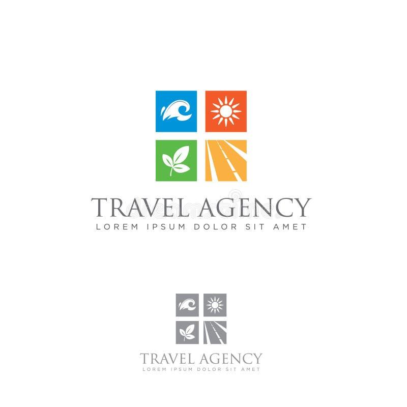 Логотип бюро путешествий Значок туризма Эмблема моря, солнца, леса и дороги иллюстрация вектора