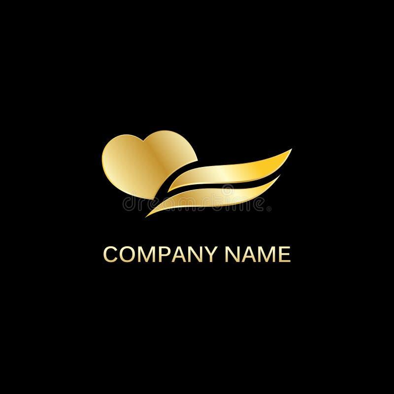 Логотип вектора волны сердца золота стоковое фото rf