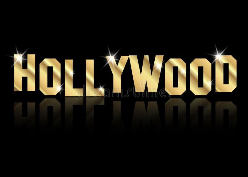 Логотип вектора Голливуда золотой, золото помечает буквами изолированную или черную предпосылку стоковое изображение