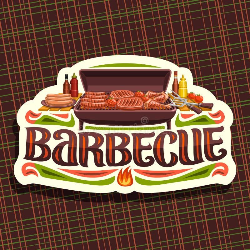 Логотип вектора для барбекю иллюстрация штока
