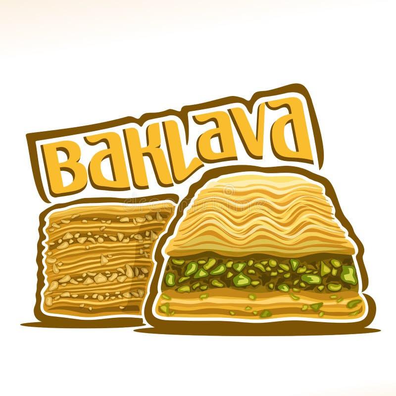 Логотип вектора для турецкой бахлавы иллюстрация штока