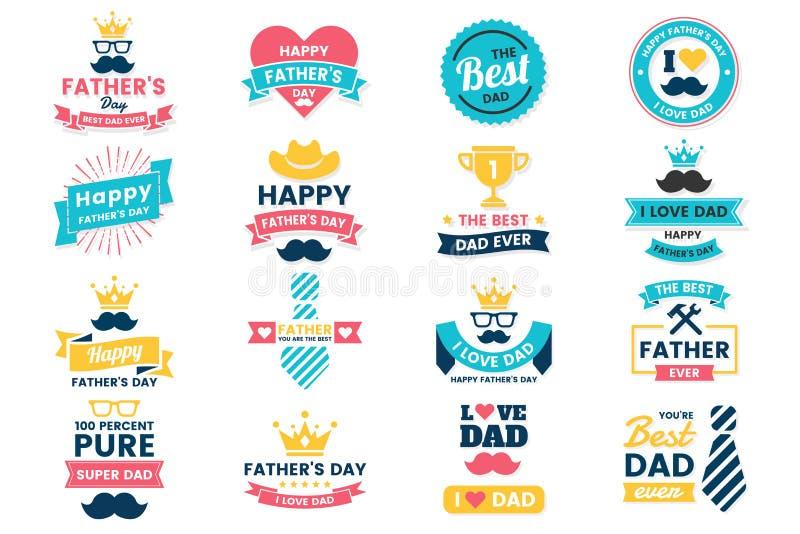 Логотип вектора дня рождения дня отца для знамени стоковые изображения rf