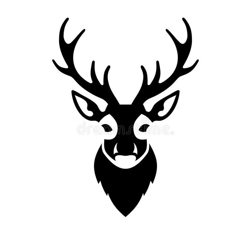 Логотип вектора значка оленей головной иллюстрация вектора