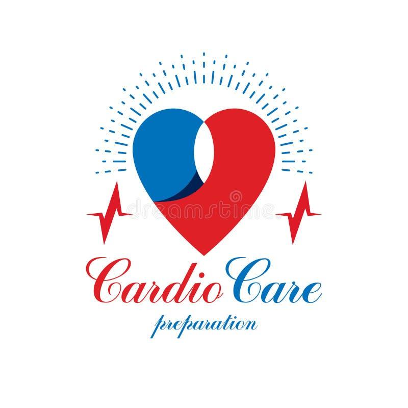 Логотип вектора кардиологии схематический создался с красной формой a сердца иллюстрация вектора