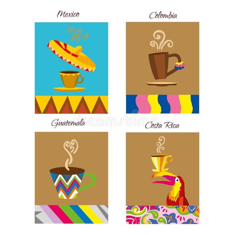 Логотип вектора кофе Эмблема кафа Кофе иллюстраций ярлыка мира иллюстрация штока