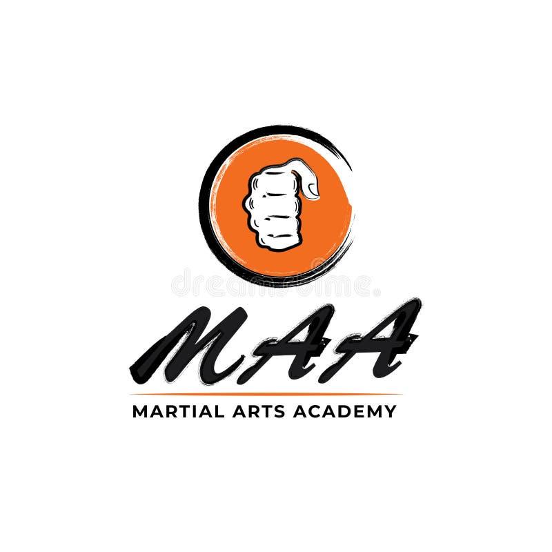 Логотип вектора кулака. Логотип боевых искусств. Эмблема академии боев бесплатная иллюстрация