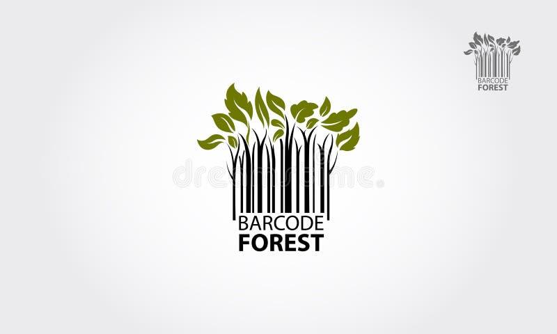 Логотип вектора леса штрихкода иллюстрация вектора