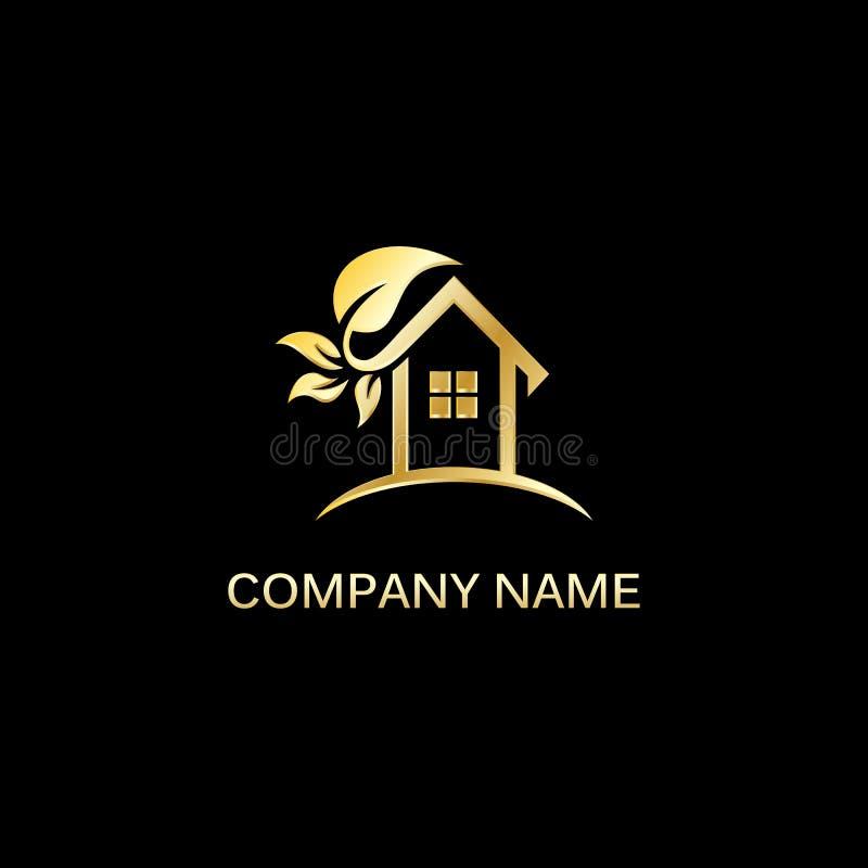 Логотип вектора лист дома золота стоковые фото