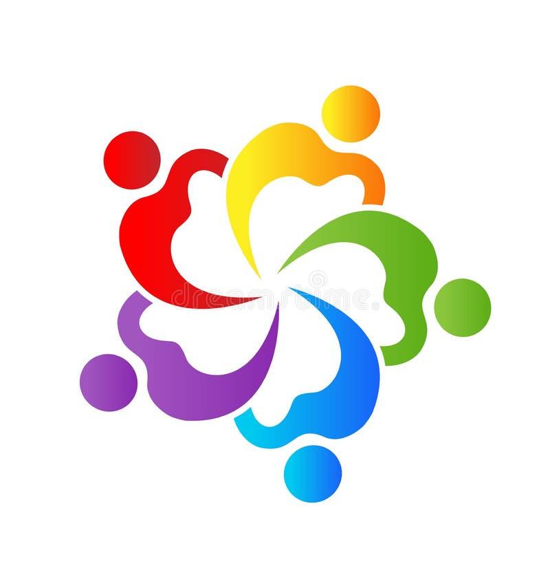 Логотип вектора людей команды группы сердца иллюстрация штока