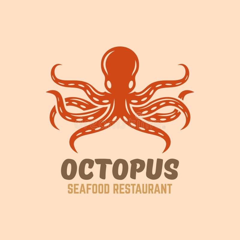 Логотип вектора меню ресторана морепродуктов осьминога бесплатная иллюстрация