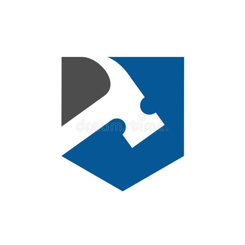 Логотип вектора молотка, реновация, ремонт или значок Repairment бесплатная иллюстрация