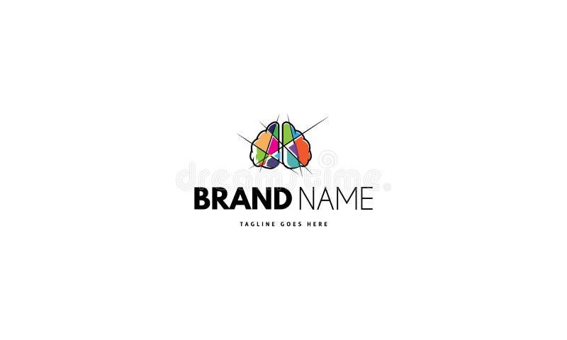Логотип вектора на котором абстрактное изображение мозга разделено в части цвета иллюстрация штока