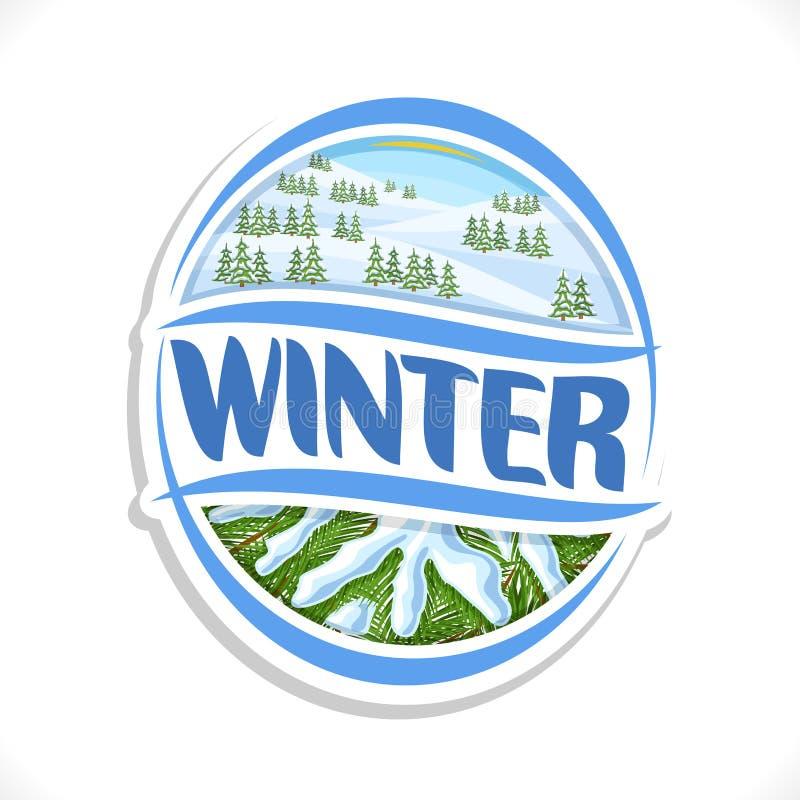 Логотип вектора на сезон зимы иллюстрация штока