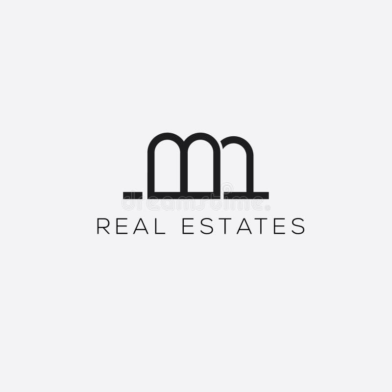 Логотип вектора недвижимостей Логотип письма b Эмблема свойств Знак дома иллюстрация вектора