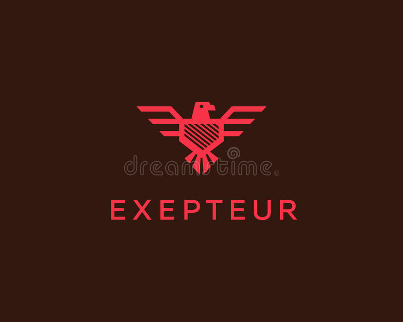 Логотип вектора орла Шаблон дизайна логотипа экрана сокола Роскошный бренд, эмблема гребня птицы, наградной символ знака значка иллюстрация вектора