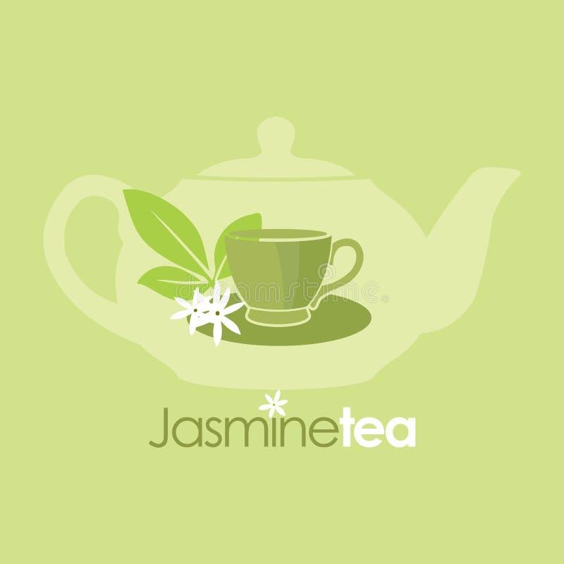 Логотип вектора питья чая жасмина органический стоковое фото rf