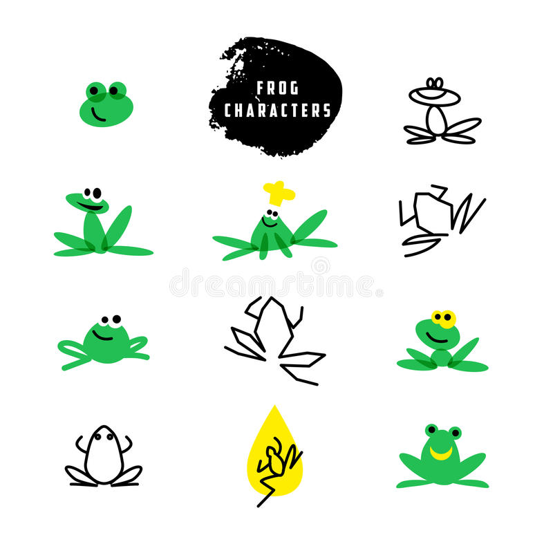 Логотип вектора простой плоский с характером лягушки иллюстрация вектора
