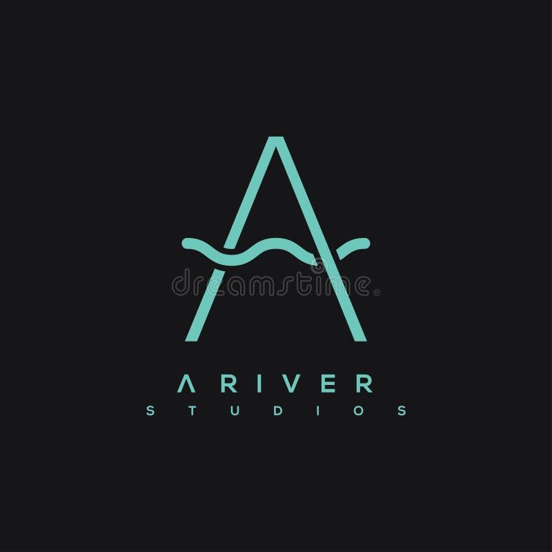 Логотип вектора реки Логотип вектора письма иллюстрация штока
