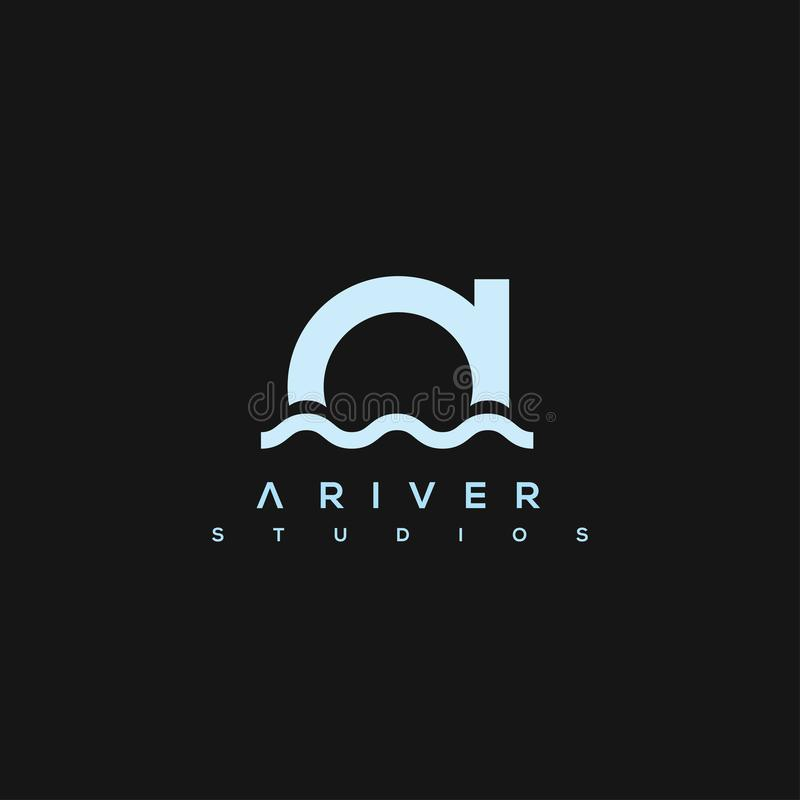 Логотип вектора реки Логотип вектора письма иллюстрация вектора