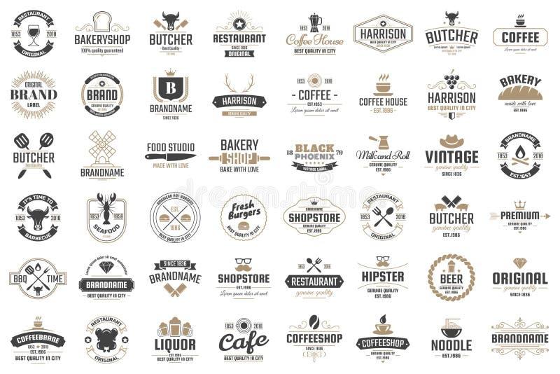 Логотип вектора ресторана ретро для знамени стоковые фото