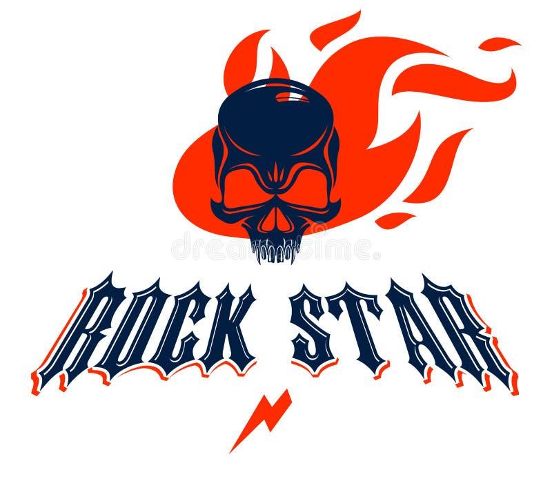 Логотип вектора рок-н-ролла черепа горящие или эмблема, голова агрессивного черепа мертвая в ярлыке тяжелого рока пламен, панковс иллюстрация вектора