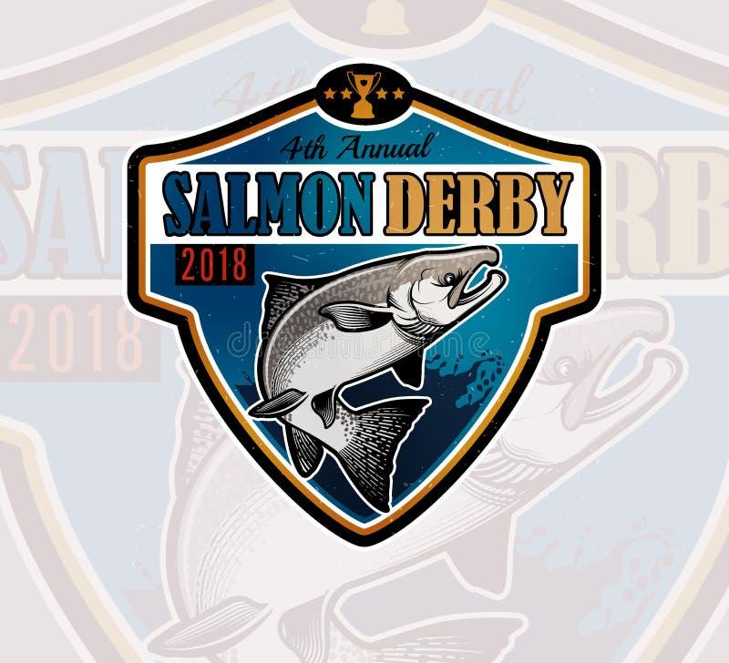 Логотип вектора рыбной ловли Salmon значок рыб иллюстрация штока