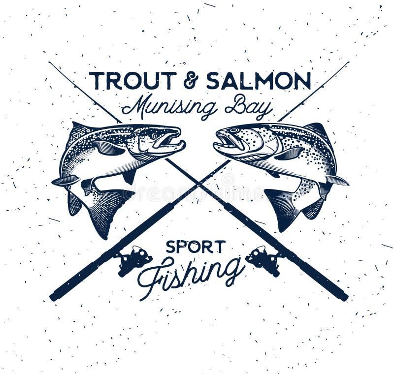 Логотип вектора рыбной ловли Salmon значок рыб бесплатная иллюстрация
