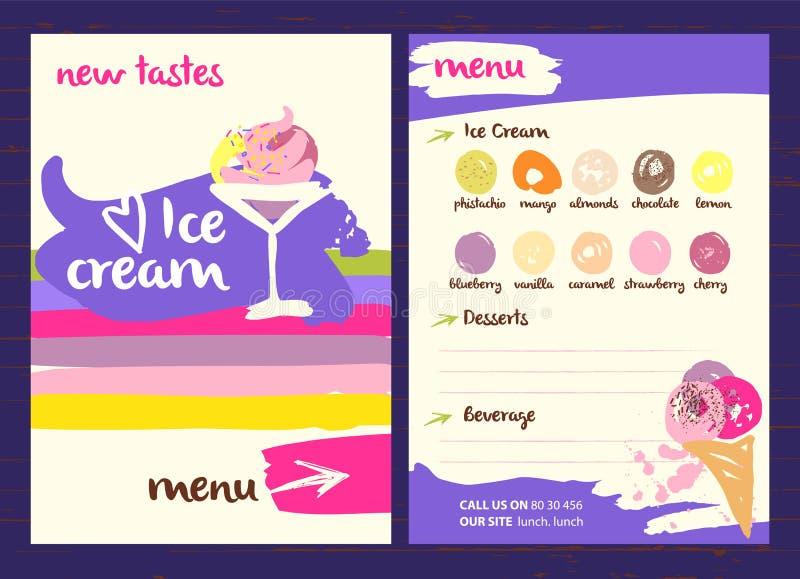Логотип вектора с очень вкусной иллюстрацией мороженого Различное ki иллюстрация вектора