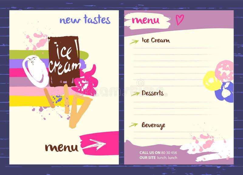 Логотип вектора с очень вкусной иллюстрацией мороженого Различное ki иллюстрация штока
