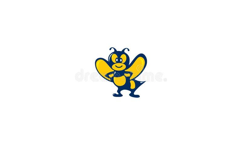 Логотип вектора характеров пчелы иллюстрация вектора