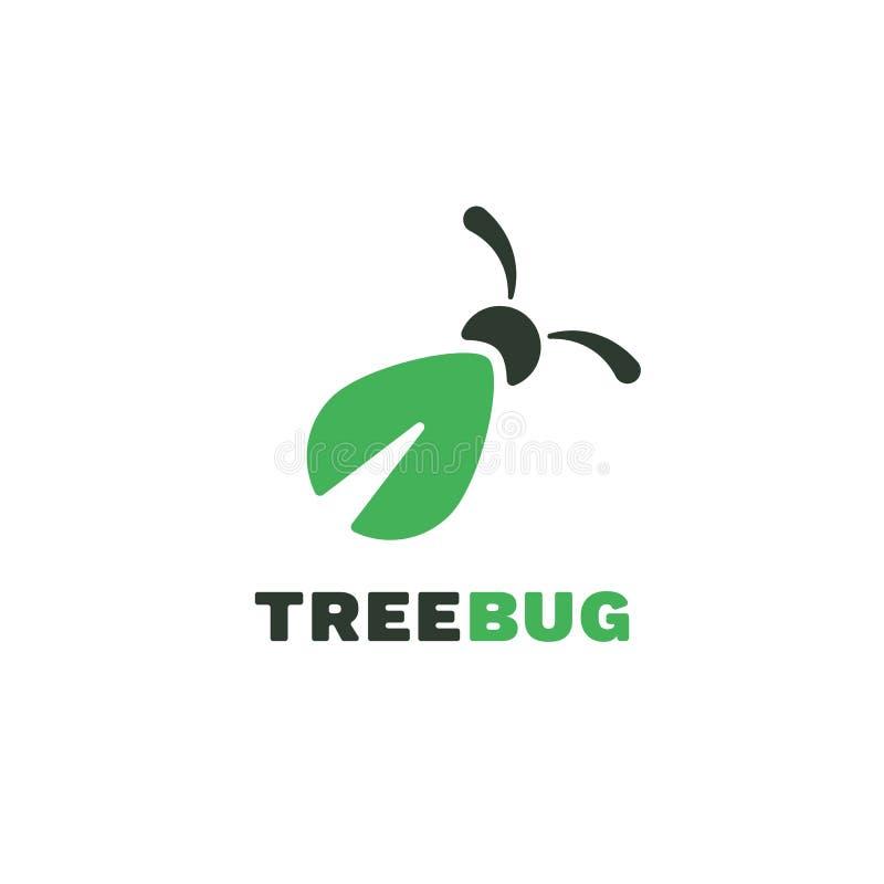 Логотип вектора черепашки дерева плоский Зеленый логотип насекомого иллюстрация вектора