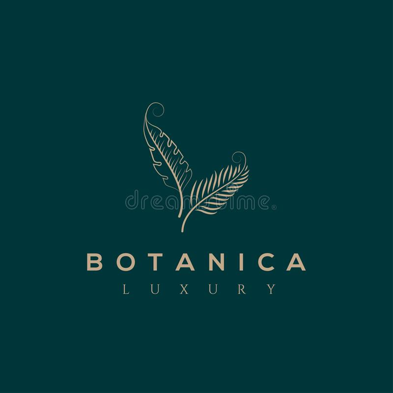 Логотип вектора Botanics Био эмблема косметик Органический знак продукта листья иллюстрации архива ai имеющиеся иллюстрация штока