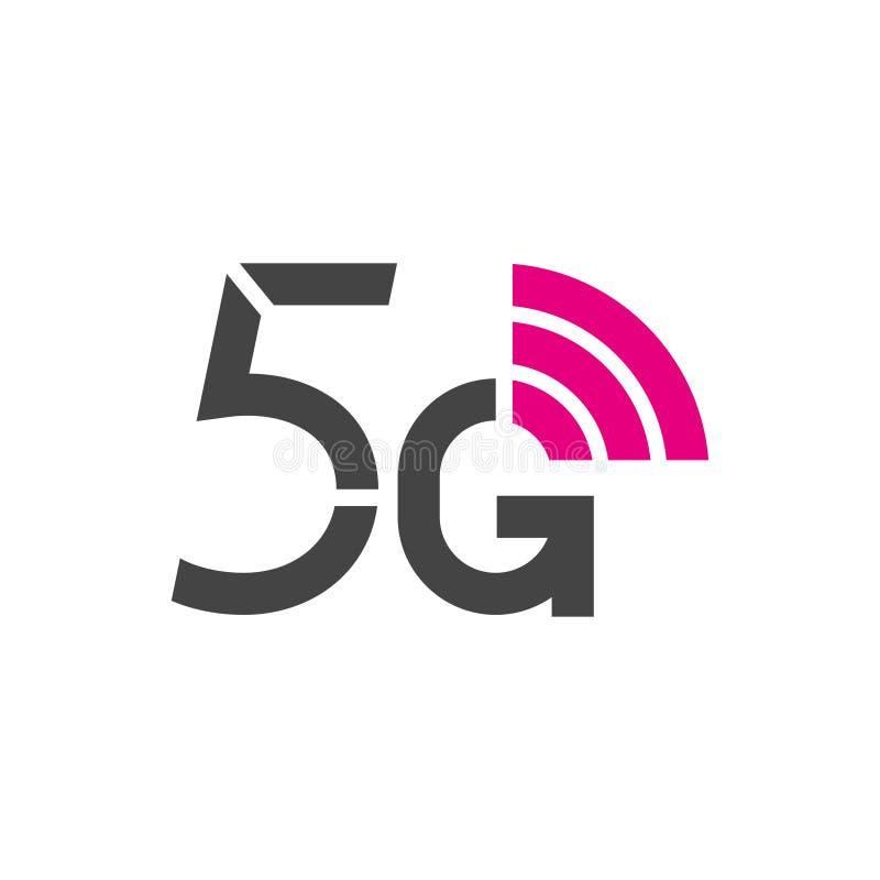 логотип вектора 5G технология интернета 5-ого поколения беспроводная Мобильные устройства, радиосвязь, дело, сеть иллюстрация вектора