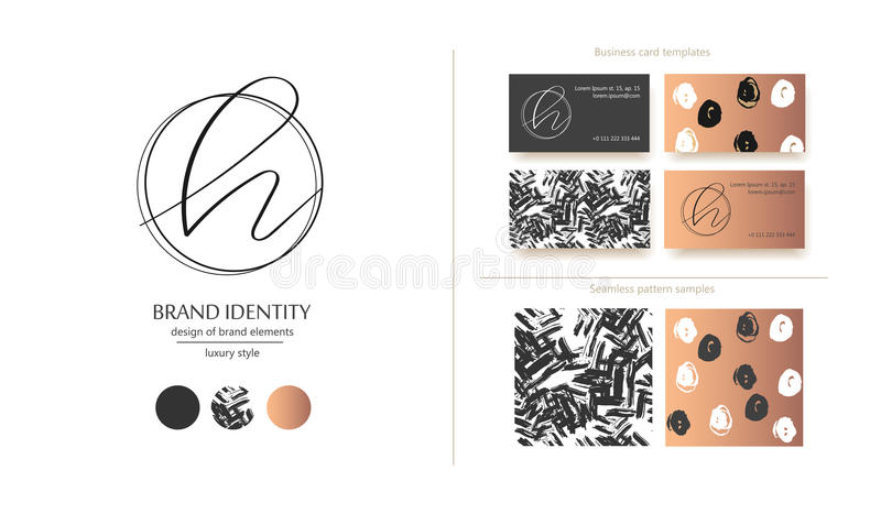 Логотип вектора h письма Конструируйте includs 2 шаблона визитной карточки и 2 безшовных картины Золотые металлические элементы бесплатная иллюстрация