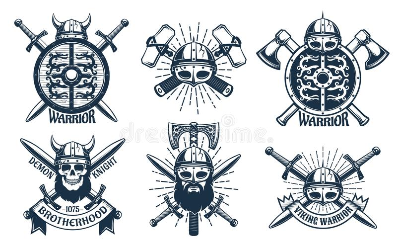 Логотип Викинга установил в ретро стиль печати иллюстрация штока