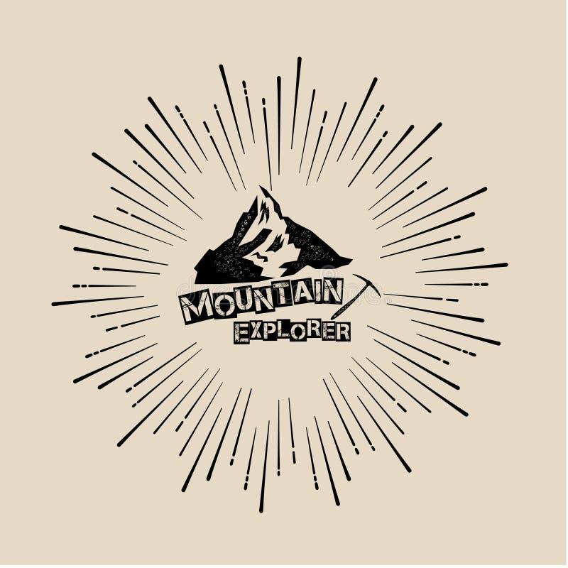 Логотип внешний, гора, исследователь иллюстрация штока