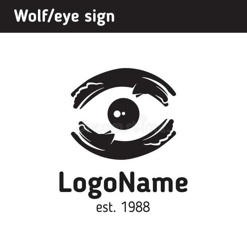 Логотип волков и луны, глаза иллюстрация штока