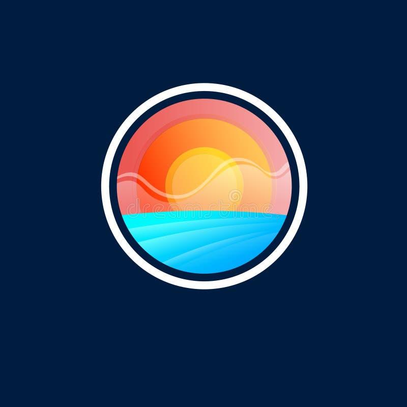Логотип восхода солнца Эмблема туризма или курорта Море и восход солнца в круге иллюстрация вектора