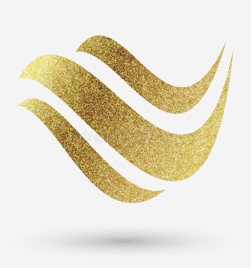Логотип волны в золоте иллюстрация штока