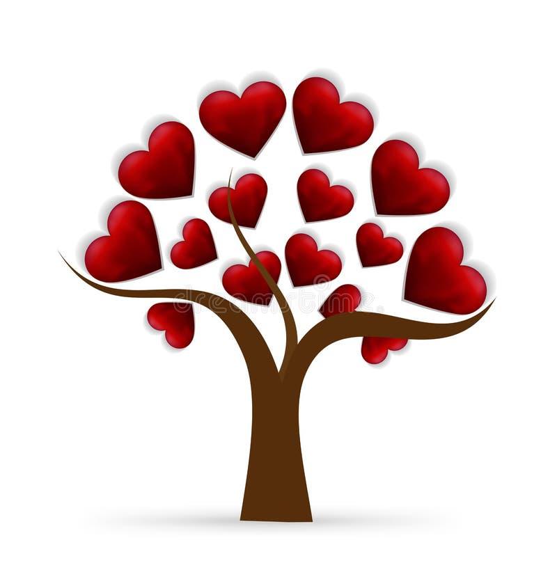 Логотип влюбленности сердца дерева иллюстрация штока