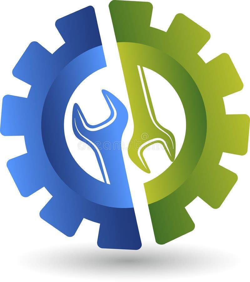 Логотип гаечного ключа колеса иллюстрация вектора