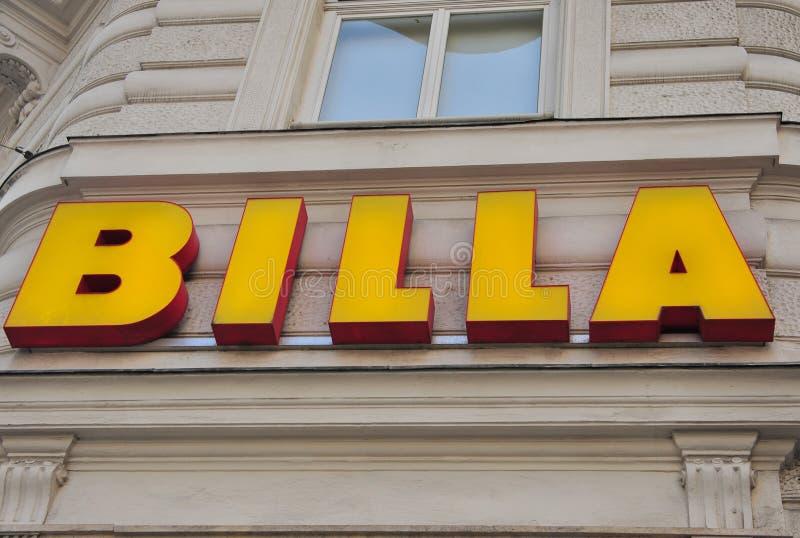 Логотип гастронома Billa стоковые фотографии rf