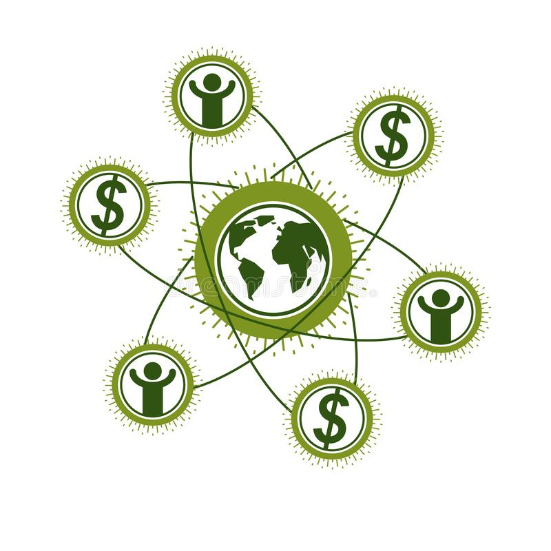 Логотип глобального бизнеса творческий, уникальный символ вектора созданный с различными элементами Глобальная финансовая система бесплатная иллюстрация