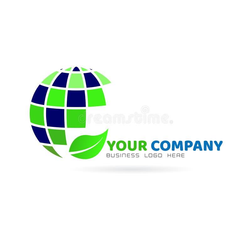 Логотип глобуса с лист, элементом значка на белой предпосылке иллюстрация вектора