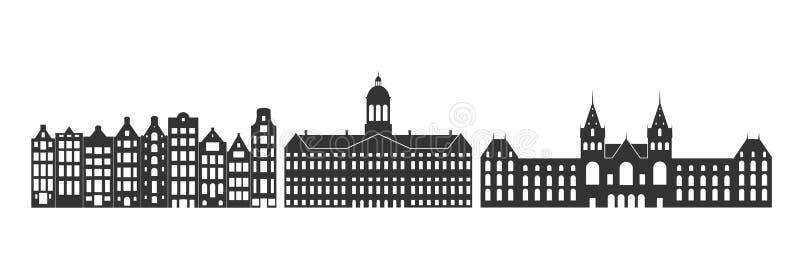 Логотип Голландии Изолированная голландская архитектура на белой предпосылке иллюстрация штока