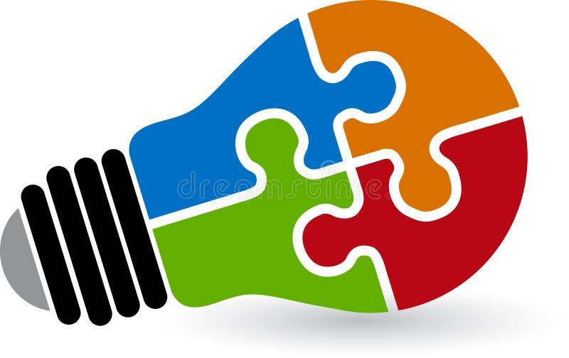 Логотип головоломки лампы иллюстрация вектора